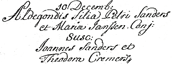 Scan of Baptism record of Aldegonda SANDERS - 10 December 1770