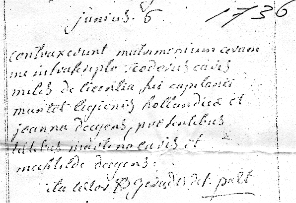 Scan of Marriage record of Theodoris Caris and Joanna Deegens 6 June 1736