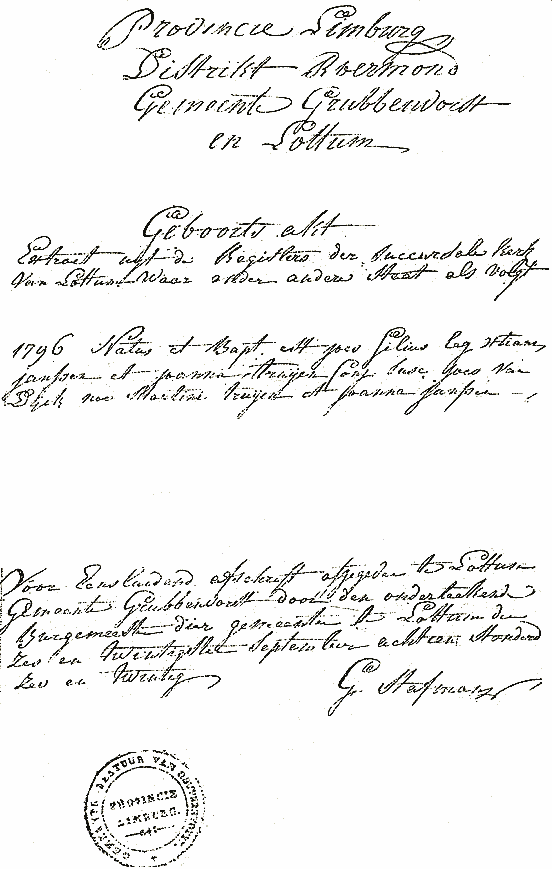 Scan of Delayed record of Joannes JANSSEN birth- 1796