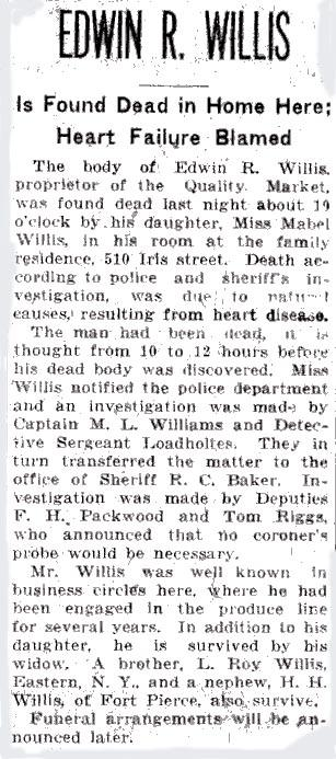 Newsclipping of obituary of Edwin R. Willis