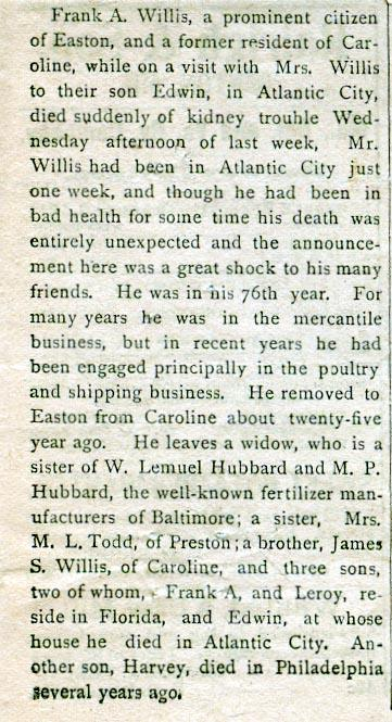 Newsclipping of obituary of Francis A. Willis