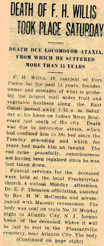Newsclipping of obituary of Frank H. Willis