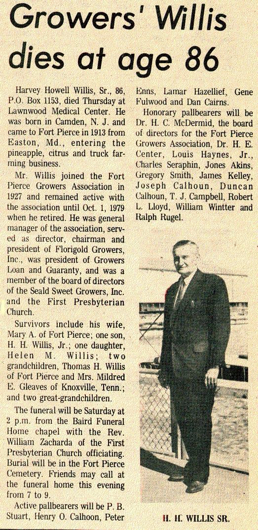 Newsclipping of obituary of Harvey Howell Willis