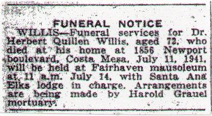 Newsclipping of obituary of Herbert Quillen Willis