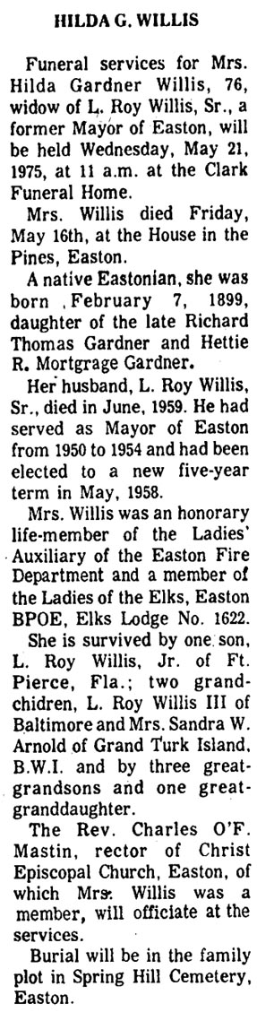 Newsclipping of Obituary for Hilda G. Willis