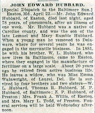 Newsclipping of obituary of John Edward Hubbard continued
