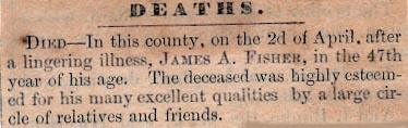 Newsclipping of obituary of James A. Fisher