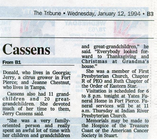 Newsclipping of obituary of Marion Willis Cassens continued