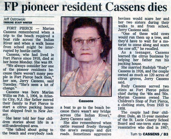 Newsclipping of obituary of Marion Willis Cassens