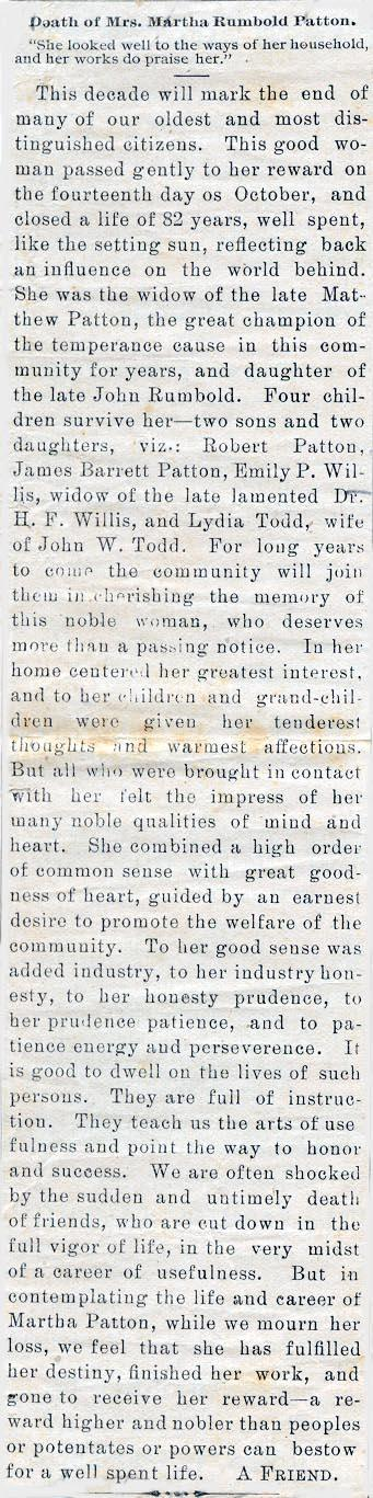 Newsclipping of obituary of Martha Rumbold Patton