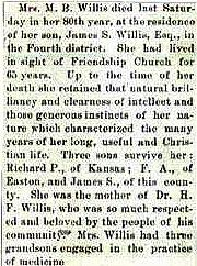 Newsclipping of obituary of Mary B. Willis