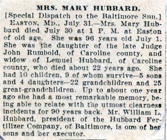 Newsclipping of obituary of Mary Rumbold Hubbard