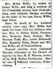 Newsclipping of obituary of Mary shufelt Willis