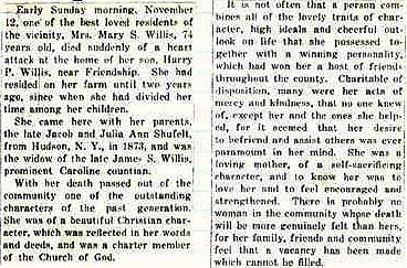 Newsclipping of obituary of Mary Shufelt Willis continued