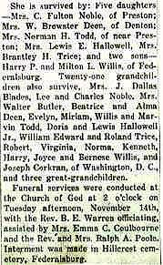 Newsclipping of obituary of Mary S. Willis continued