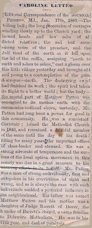 Newsclipping of the funeral of Matthew Patton