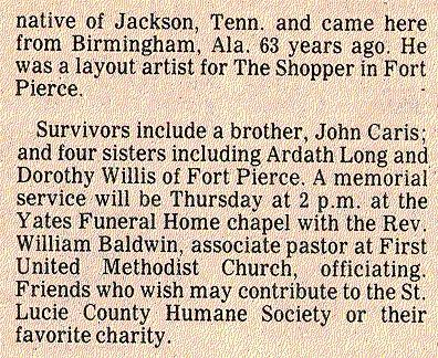 Newsclipping of obituary for Ollie Caris continued