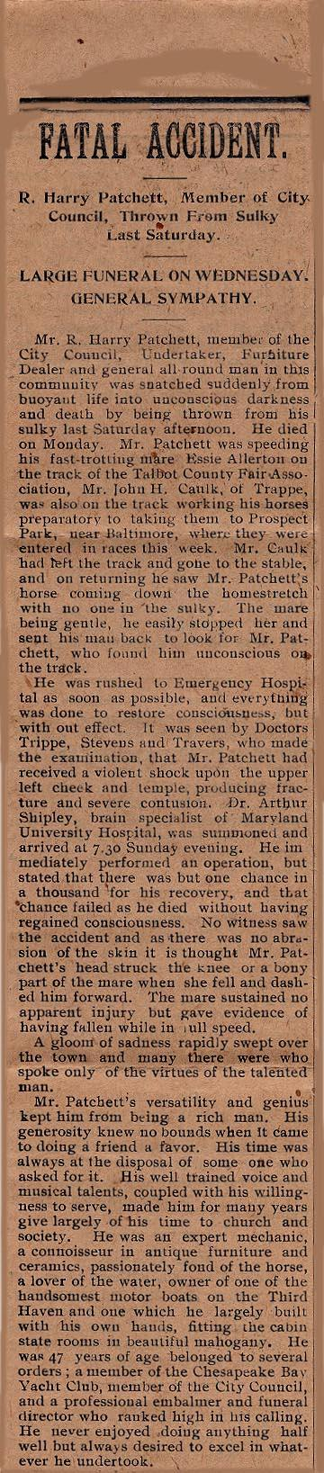 Newsclipping of accident of R. Harry Patchett