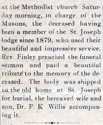 Newsclipping of obituary of Richard P. Willis continued