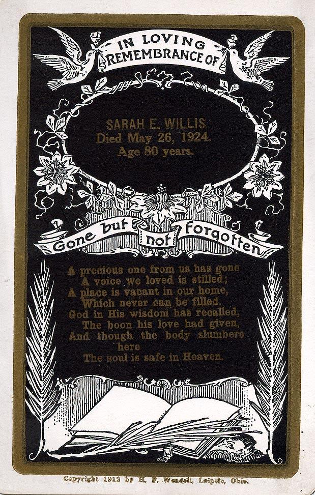 Rememberance card for Sarah Elmer Hubbard Willis death