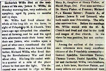 Newsclipping of obituary of Zachariah Willis