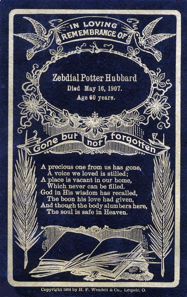 Rememberance Card of death of Zebdial Potter Hubbard