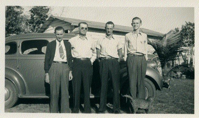 Picture of Howell Willis, L. Roy Willis Sr., L. Roy Willis Jr., and Bill Willis in Fort Pierce, Florida about 1940