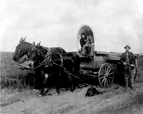 Picture of Covered wagon passing Richard Preston Willis's Homestead outside Hydro, OK about 1906/7.