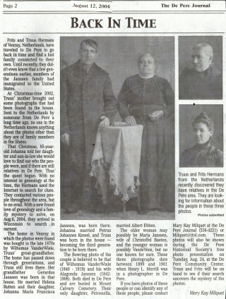 Newspaper article that appeared August 12, 2004