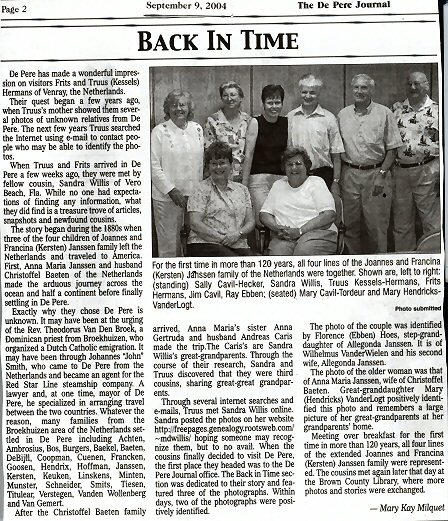 Newspaper article that appeared September 9, 2004