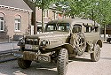 Picture of an historic military vehicle of the USA in the market square in Lottum, Limburg, Netherlands